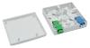 BKT fiber optic subscriber panel FTTH wall mounted plastic WHITE 2x SC simplex 86x86x23 mm