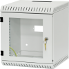 """BKT wall hanging cabinet 10"""" 6U glass door, one lock, """"OFFICE"""", with roof and base openings RAL 7035 GREY"""