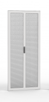 Double leaf door 80% perforated, 42U 600 mm width with 1 three point lock and hinges, RAL 7035 grey