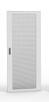 Single leaf door 80% perforated, 42U 600 mm width with 1 three point lock and hinges, RAL 7035 grey