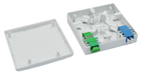 BKT fiber optic subscriber panel FTTH wall mounted plastic WHITE 2x SC simplex 86x86x23 mm