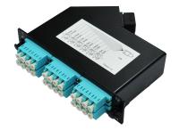 Cassette LGX BKT MPO male - 6 x LC duplex APC SM RAL9005, type A standard loss