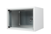 "BKT wall hanging cabinet single section ""STANDARD"" 4U, 560/400/285 (W/D/H mm) RAL 7035 (metal door)"