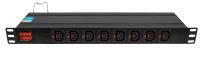 """BKT DUAL Power distribution unit 19"""" 1U, 16xIEC 320 C13, front 8xIEC 320 C13 (IEC Lock), back 8xIEC 320 C13 (IEC Lock), amperometer/voltometer, automatic fuse 16A, IEC320 C20 16A/250V power plug (built-in), no power cable included"""