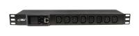 "BKT DUAL Power distribution unit 19"" 1U, front 8xIEC 320 C13, back 6xIEC 320 C19, amperometer/voltometer with an overload sound alarm, ModBus RTU, circuit breaker 32A, plug IEC 60309 32A/250V, power cable 3.0m"