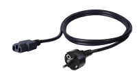 BKT power cable - socket IEC 320 C13 10A, plug DIN 49441 (unischuko) 16A, 3 x 1,0 mm2 BLACK 3m