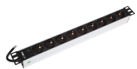 "BKT power distribution unit 19"", 9xDIN 49440(schuko), plug DIN 49441 (unischuko) 16A/250V, LED control light"