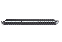 BKT 19'' BKT crossing panel, 24xRJ45, unshielded, cat.5e, 1U, black, cable organizer