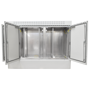 "19"" BKT outdoor cabinet MFG type 18, 2000/500/1500 (W/D/H mm) RAL 7038 IP55 (triple chamber, triple leaf door)"