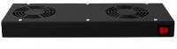 BKT ventilation panel 2 x fan, roof/rack mounted+thermostat 1U BLACK