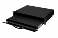 """BKT retractable shelf (sliding) for keyboard and mouse, 19"""" o depth 350 mm, height 2U, with lock,RAL 7021 BLACK"""