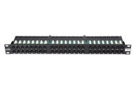 "Crossing panel 19"" BKT, 48xRJ45, unshielded, cat.6, 1U, BLACK, cable organiser"