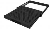"""BKT retractable shelf (sliding) BKT 19"""",1U, depth 300mm, mounted at 4 points RAL 7021 BLACK"""