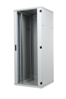 BKT cabinet SRS 18U, 800/800/915 (W/D/H mm) metal/glass door, RAL 7035 (welded frame-capacity 600 kg)