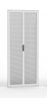 Drzwi dwuczęściowe perforowane 80%, 42U 600 mm szer. wyposażone w zamek 3-punktowy i zawiasy, RAL 7035 szary