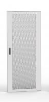 Drzwi jednoczęściowe perforowane 80%, 42U 600 mm szer. wyposażone w zamek 3-punktowy i zawiasy, RAL 7035 szary