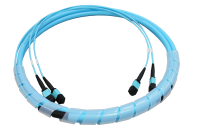Kabel BKT 24F (2x12F) MPO żeński - MPO żeński OM4, Typ A, Standard Loss, 1m, LSOH, kabel okrągły 9 mm