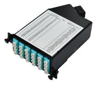 Kaseta HD BKT MPO męskie - 6 x LC quad OM3 RAL9005, typ A Standard Loss