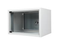 Szafa wisząca jednoczęściowa BKT STANDARD, 6U, 560/400/375 szer./gł./wys. mm RAL7035 ( drzwi blacha )