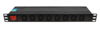 """Listwa zasilająca BKT DUAL 19"""""""" 1U, przód 8xIEC 320 C13 tył 6xIEC 320 C19, amperomierz/voltomierz, bezpiecznik automatyczny 16A, wtyk zasilający IEC320 C20 16A/250V (wbudowany), brak kabla zasilającego w komplecie"""