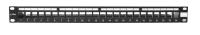 """Panel krosowy BKT 19"""" 1U, modularny, ekranowany, 24xkeystone, czarny"""