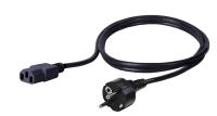 Kabel zasilający BKT - gniazdo IEC 320 C13, wtyk DIN49441 (uniwersalny), 3 x 1mm2 czarny 2m