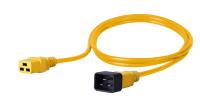 Kabel zasilający BKT - gniazdo IEC 320 C19 16A, wtyk IEC 320 C20 16A, 3 x 1,5 mm2 żółty 2m
