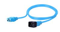 Kabel zasilający BKT - gniazdo IEC 320 C19 16A, wtyk IEC 320 C20 16A, 3 x 1,5 mm2 niebieski 2m