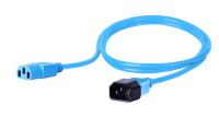 Kabel zasilający BKT - gniazdo IEC 320 C13 10A, wtyk IEC 320 C14 10A, 3 x 1,0 mm2 niebieski 1m