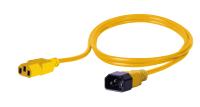 Kabel zasilający BKT - gniazdo IEC 320 C13 10A, wtyk IEC 320 C14 10A, 3 x 1,0 mm2 żółty 1m