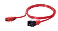Kabel zasilający BKT - gniazdo IEC 320 C19 16A, wtyk IEC 320 C20 16A, 3 x 1,5 mm2 czerwony 1m