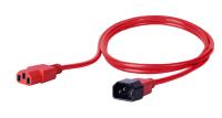 Kabel zasilający BKT - gniazdo IEC 320 C13 10A, wtyk IEC 320 C14 10A, 3 x 1,0 mm2 czerwony 1m