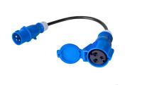 Kabel zasilajacy/adapter BKT - gniazdo IEC 60309 32A/250V, wtyk IEC 60309 16A/250V, 3 x 2.5mm2 czarny 0.3m