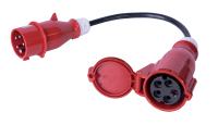 Kabel zasilajacy/adapter BKT - gniazdo IEC 60309 32A/400V, wtyk IEC 60309 16A/400V, 5 x 2.5mm2 czarny 0.3m