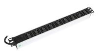 """Listwa zasilająca BKT 19"""", 9xIEC320 C13, wtyk IEC320 C14 10A/250V, kontrolka LED, kabel 2.5m, gniazda IEC320 C13 z blokadą wypięciową"""