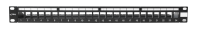 """Panel krosowy 19"""" BKT, modularny na 24xRJ45, ekranowany, 1U, czarny, wymienne pola opisowe"""