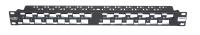 """Panel krosowy 19"""" BKT, modularny na 24xRJ45, ekranowany, 1U, czarny, skośne porty"""