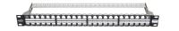 """Panel krosowy 19"""" BKT, modularny na 48xRJ45, ekranowany, 1U, czarny, wymienne pola opisowe"""