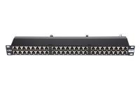 """Panel krosowy 19"""" BKT , 48xRJ45, ekranowany, kat. 6, 1U, czarny, organizator kabli"""