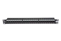 """Panel krosowy 19"""" BKT , 24xRJ45, nieekranowany, kat. 6, 1U, czarny, organizator kabli"""