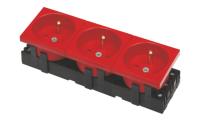 Gniazdo BKT 3x(2P+T) 6 MOD M45 DATA - czerwone
