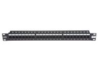 """Panel krosowy 19"""" BKT , 24xRJ45, nieekranowany, kat. 5e, 1U, czarny, organizator kabli"""