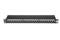 """Panel krosowy 19"""" BKT , 24xRJ45, ekranowany, kat. 6, 1U, czarny, organizator kabli"""