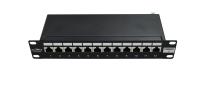 """Panel krosowy 10"""" BKT , 12xRJ45, ekranowany, kat. 6, 1U, czarny, organizator kabli"""