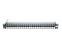 """Panel krosujący 19"""" BKT.NL, modularny na 48xMMC 4P / RJ45, ekranowany, 1U, czarny"""