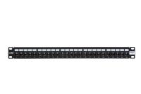 "Panel krosowy 19"" BKT , ISDN, 25xRJ45, 1U, czarny, organizator kabli"