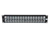 """Panel krosujący 19"""" BKT.NL, modularny na 32xMMC 6P, ekranowany, 2U, czarny"""