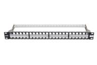 """Panel krosujący 19"""" BKT , modularny na 48xRJ45, ekranowany, 1U, czarny"""