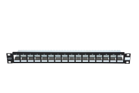 """Panel krosujący 19"""" BKT.NL, modularny na 16xMMC 6P, ekranowany, 1U, czarny"""