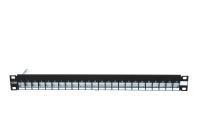 """Panel krosujący 19"""" BKT.NL, modularny na 24xMMC 4P / RJ45, ekranowany, 1U, czarny"""